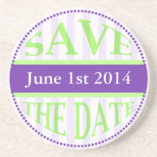 Save The Date Dot Circle Stripes green purple Coaster