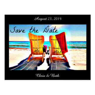 Save the Date Duo Beach Chairs Postcard