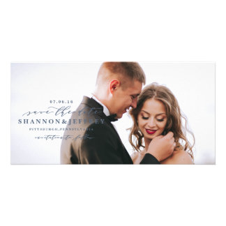 SAVE THE DATE elegant calligraphy photo card
