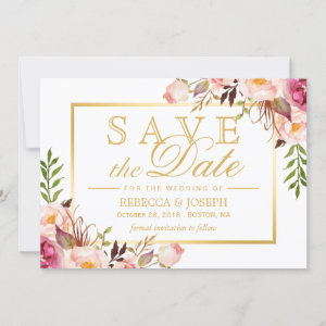 Save the Date Elegant Chic Pink Floral Gold Frame