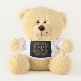Save the Date Elegant Gold Foil Dots Look Script Teddy Bear