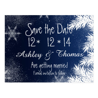 Save the Date Elegant Navy Blue Snowflake Winter Postcard