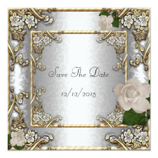 "Save The Date Elegant Wedding Gold Rose Silver 5.25"" Square Invitation Card"