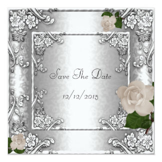 "Save The Date Elegant Wedding Rose Silver 5.25"" Square Invitation Card"