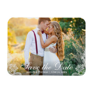 Save the Date Engagement Couple Photo Lace Magnet