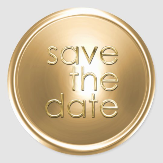 Save the Date Envelope Seal Gold