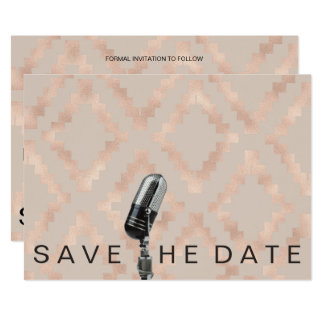 Save The Date Ethnic Pink Peach Pastel Microfone Card