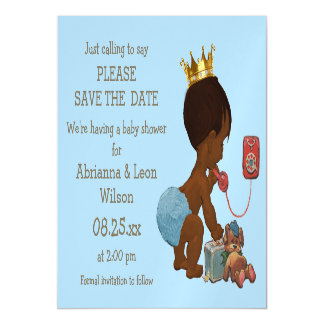 Save The Date Ethnic Prince on Phone Gray Blue Magnetic Invitations