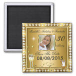 Save The Date Fabulous 30 Photo Gold Glam Birthday Square Magnet