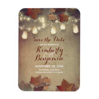 Save the Date Fall Mason Jar Lights Rustic Magnet