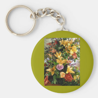 Save-the-Date/Fall Wedding Bouquet Basic Round Button Keychain