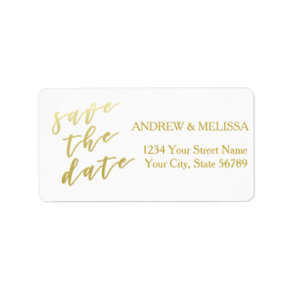 Save the Date | Faux Gold Script Label