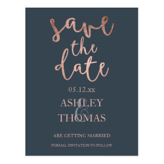Save the Date faux Rose gold script charcoal Postcard