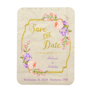 Save the Date Floral and Gold Magnet
