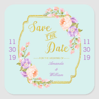 Save the Date Floral and Gold Square Sticker