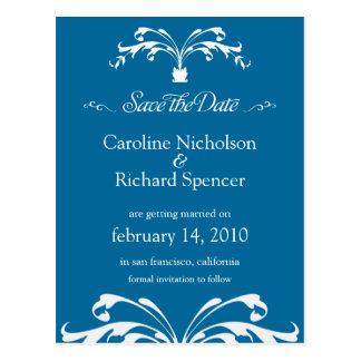 Save the Date Floral Bouquet Blue Wedding Postcard