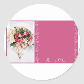 Save the date-Floral Bouquet Classic Round Sticker