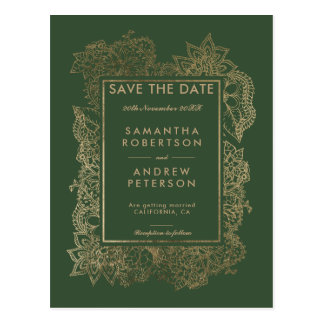 Save the Date floral gold evergreen wedding Postcard