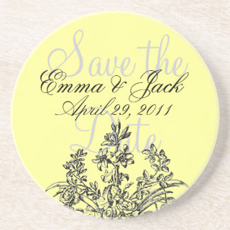 Save the Date, Floral Monogram Coaster