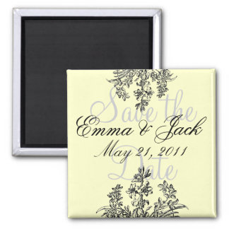 Save the Date, Floral Monogram Square Magnet