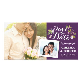 Save the Date | Floral Purple Announcement Custom Photo Card