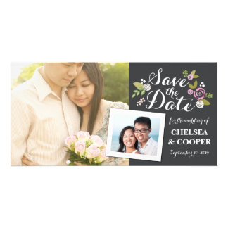 Save the Date   Floral Slate Announcement Photo Cards