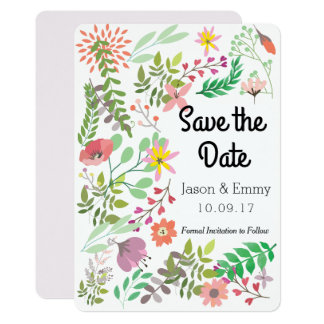 Save the Date Floral Theme Card