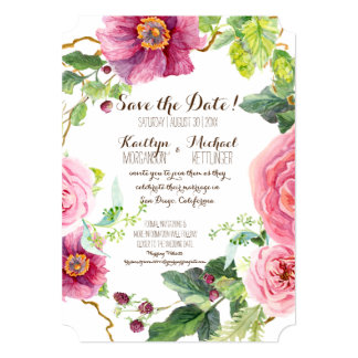 "Save the Date Floral Wreath Watercolor Roses Peony 5"" X 7"" Invitation Card"