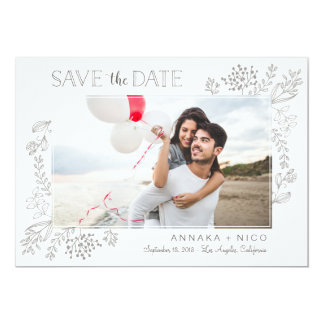 Save the Date, flowers, hand drawn, simple, doodle Card