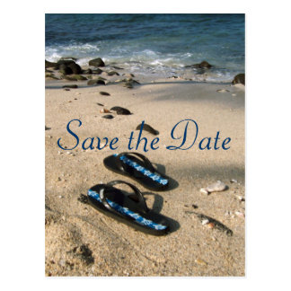 Save the Date for Our Wedding Flip Flop Sandals Postcard