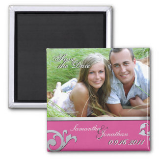 Save the Date Fuchsia Pink & Silver Sparkle Magnet