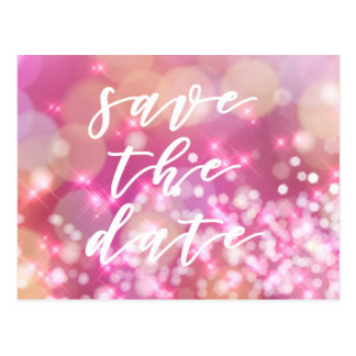 Save the date   Glamourous Pink Sparkles Postcard