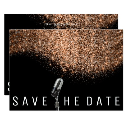 Save The Date Glitter Copper Black Whit Microphone Card