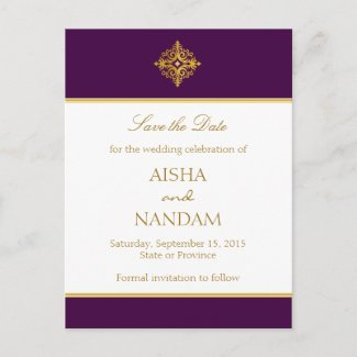 Save the date Gold and Purple Postcard