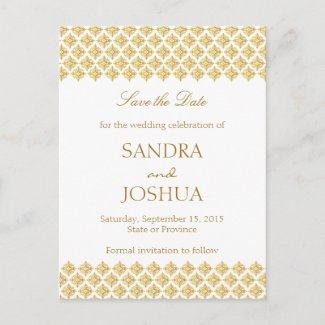 Save the date Gold Arabesque Postcard
