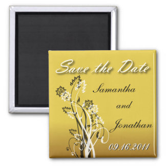 Save the Date Gold Black and White Floral Magnet