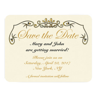 Save the date gold card