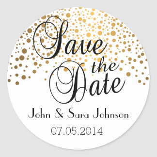 Save the Date | Gold Dots | Personalize Classic Round Sticker