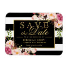 Save the Date - Gold Floral Decor B&W Stripes Magnet
