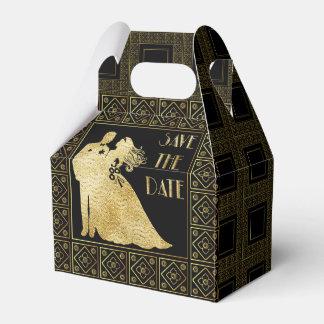Save the Date Gold Foil & Black Wedding Favour Box Wedding Favor Boxes
