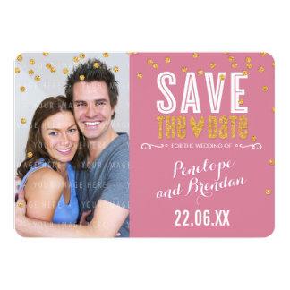 "SAVE THE DATE gold glitter confetti rose pink 5"" X 7"" Invitation Card"