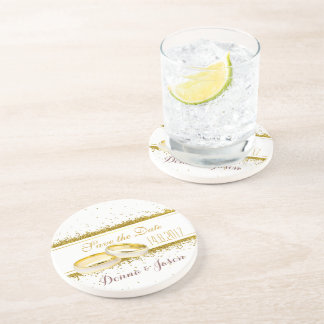 Save the Date Gold Glitter Rings Sandstone Coaster
