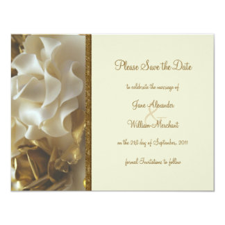 Save the Date Gold & Ivory Wedding Cake Roses Card