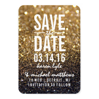 "Save the Date | Gold Lit Nite Fab 3.5"" X 5"" Invitation Card"