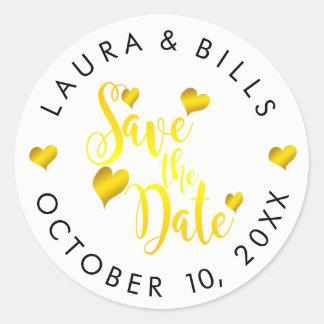 Save the Date Gold Love Glitter Wedding Classic Round Sticker