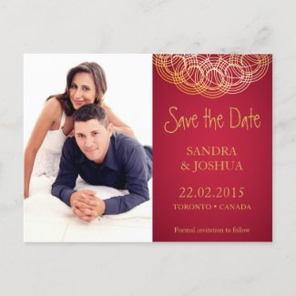 Save the date Gold Mandala on Red | Postcard