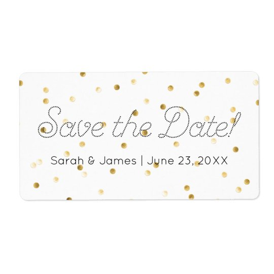 Save the Date Gold Metallic Polka Dots Elegant Shipping Label
