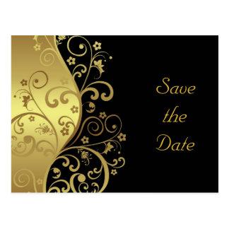 Save the Date--Gold Swirls & Black Postcard
