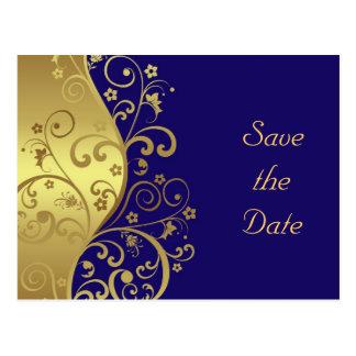 Save the Date--Gold Swirls & Dark Blue Postcard