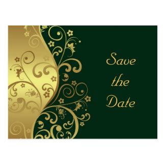 Save the Date--Gold Swirls & Dark Green Postcard